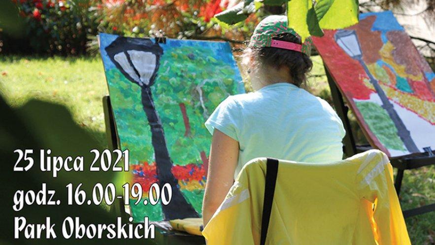 """Grafika promująca rodzinny plener malarski - """"Mielec jak malowany"""" w Parku Oborskich"""